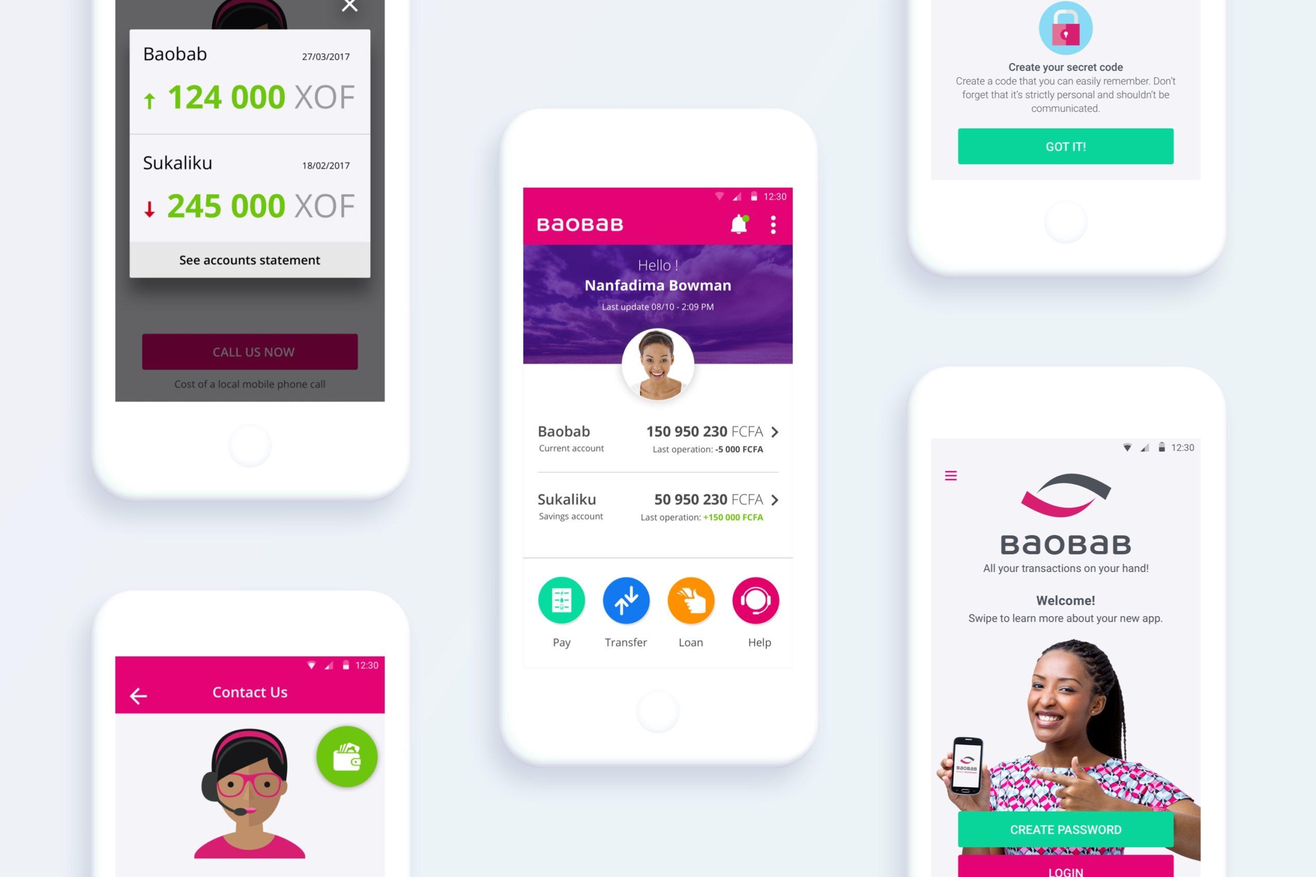 baobab app screens